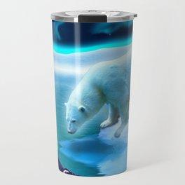 The Encounter - A Polar Bear & Penguin Fantasy Travel Mug
