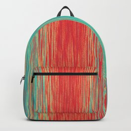 Coral Red Peacock Green Bright Blended Lines Backpack