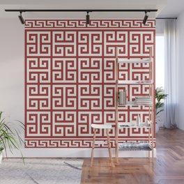 Greek Key (Maroon & White Pattern) Wall Mural