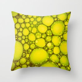 Yellow Oil Blobs on Water Throw Pillow