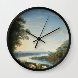 Capriccio View of the River Volturno with Monte Epomeo beyond by Jakob Philipp Hackert. Wall Clock