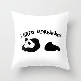 Cute & Funny I Hate Mornings Lazy Panda Sleepy Throw Pillow