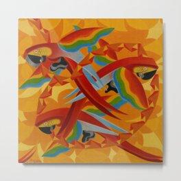 Scarlet Macaws (Parrots) by Giacomo Balla Metal Print