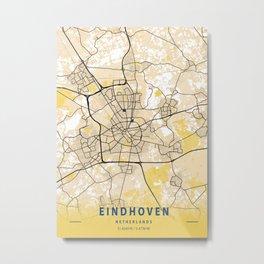 Eindhoven Yellow City Map Metal Print