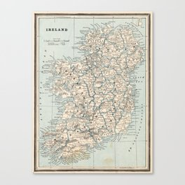 Vintage Map of Ireland (1893) Canvas Print