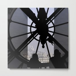 Time in Paris France, silhouettes against the d'Orsay clock Metal Print