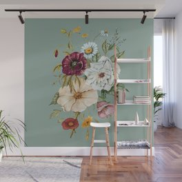 Colorful Wildflower Bouquet on Blue Wall Mural