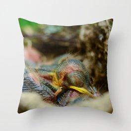 Baby bird sleeping in the nest Throw Pillow