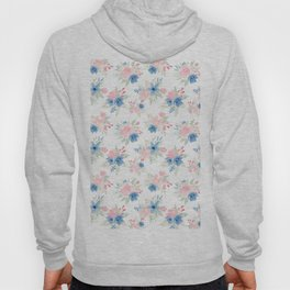 Blush Pink and Navy Watercolor Florals Hoody