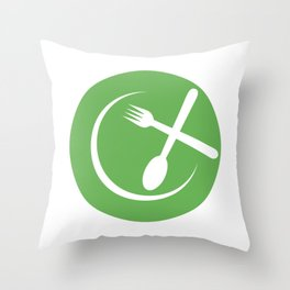 Green Plate with spoon and fork symbolizing Vegan friendly Throw Pillow
