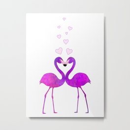 Flamingo Love Connection Metal Print