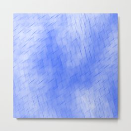 Line texture of blue oblique dashes with a dark intersection on a luminous charcoal. Metal Print