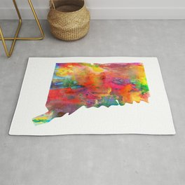 Connecticut Watercolor Map by Zouzounio Art Rug
