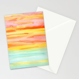 Summer Sunset Abstract Painting Stripes Pattern Modern - Be Yourself And Fall In Love Stationery Cards