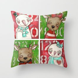 Snow couple / Reindeer Couple - by Diane Duda Art Throw Pillow