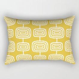Mid Century Modern Atomic Rings Pattern Mustard Yellow Rectangular Pillow