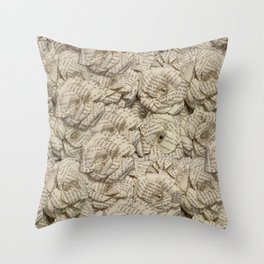 Book Page Flower Roses Throw Pillow