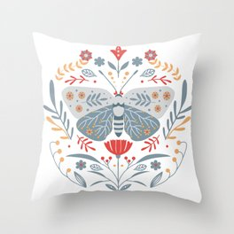 Scandinavian Folk Art - Butterfly & Flowers Throw Pillow