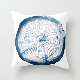 Blue Tree Ring Throw Pillow