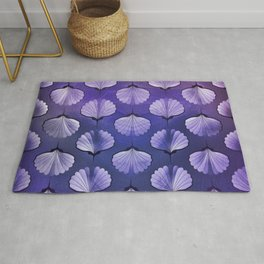 Blue sea seashell geometric pattern Rug