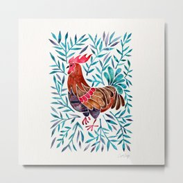 Le Coq – Watercolor Rooster with Turquoise Leaves Metal Print