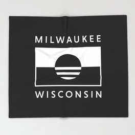 Milwaukee Wisconsin - Black - People's Flag of Milwaukee Throw Blanket