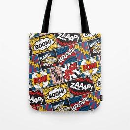 Modern Comic Book Superhero Pattern Color Colour Cartoon Lichtenstein Pop Art Tote Bag