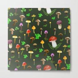 Mushrooms! Dark Green Background Metal Print