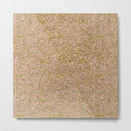 Blush Pink & Gold Glam Glitter Sparkle Metal Print