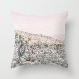Mojave Pink Dusk // Desert Cactus Landscape Soft Cloudy Sky Mountain Scape Photograph Throw Pillow
