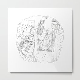 Cowboy Robbing Saloon Drawing Metal Print