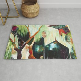"""""""Temple Lilies"""" Original Painting by Flora Bowley Rug"""