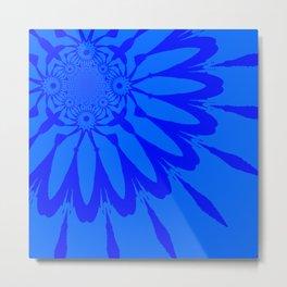 The Modern Flower Blue on Blue Metal Print