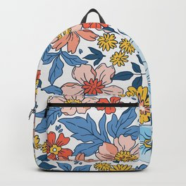 Vintage floral background. Flowers pattern with small flowers on a white background.  Backpack