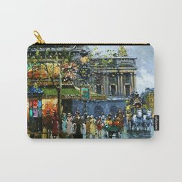 Paris Cafes and Opera House, Autumn, France landscape painting Carry-All Pouch