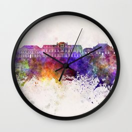 Le Havre skyline in watercolor background Wall Clock