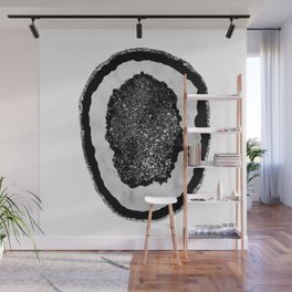 Agate with White Marble & Black Silver Glitter #1 #gem #decor #art #society6 Wall Mural