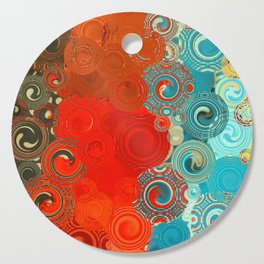 Turquoise and Red Swirls Cutting Board