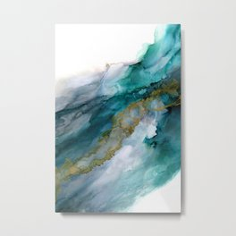Wild Rush - abstract ocean theme in teal gray gold, marble pattern Metal Print
