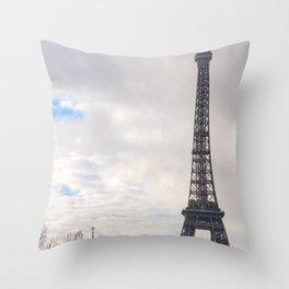Eiffel tower and Sainte-Trinite cathedral in paris Throw Pillow