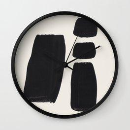 Mid Century Modern Minimalist Abstract Art Brush Strokes Black & White Ink Art Square Shapes Wall Clock