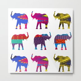 Funk Elephants Metal Print