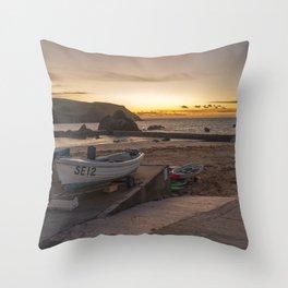 Hope Cove Sunset  Throw Pillow