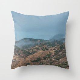 Utah Mountain Misty Clouds Landscape Scrub Throw Pillow