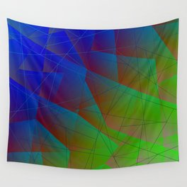 Bright fragments of crystals on irregularly shaped blue and green triangles. Wall Tapestry