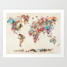 world map watercolor deux Kunstdrucke