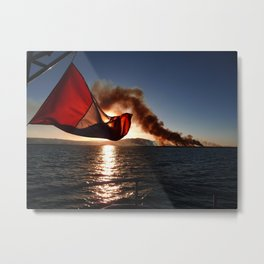 Sunset over Titicaca Lake in Ecuador Metal Print
