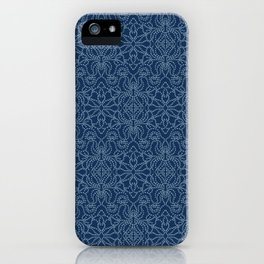 Damask motif sashiko stitch pattern. iPhone Case