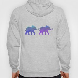 Follow The Leader - Painted Elephants in Royal Blue, Purple, & Mint Hoody