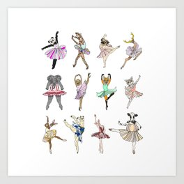 Animal Square Dance Hipster Ballerinas Art Print